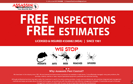 Assassin Pest Control website