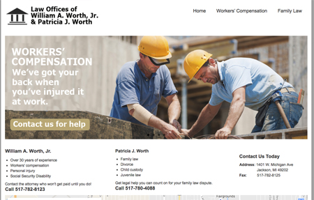 website design for the Law office of worth and worth