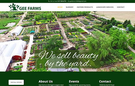 gee farms nursery and garden center is located in Stockbridge Michigan