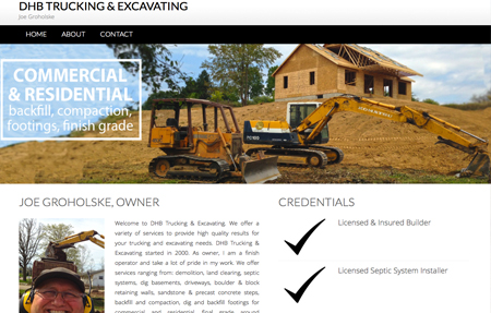 website design for DHB Trucking and Excavating