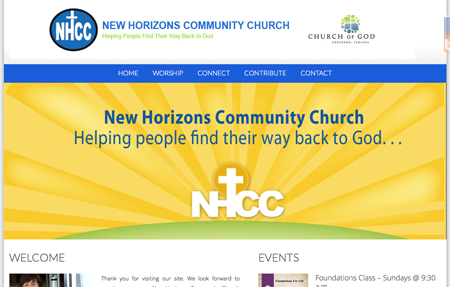 website design for New Horizons Community Church