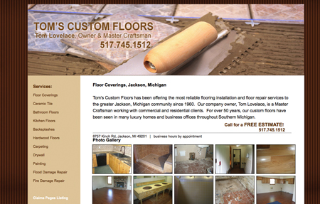 website design for toms custom floors