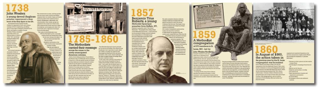 Free Methodist History Panels are custom designed museum style panels.